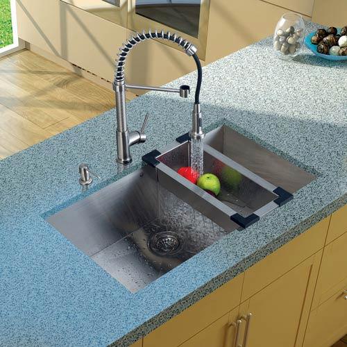 Vigo All-In-One 32 Inch Ludlow Stainless Steel Undermount Kitchen Sink Set With Edison Faucet In Chrome, Colander, Strainer