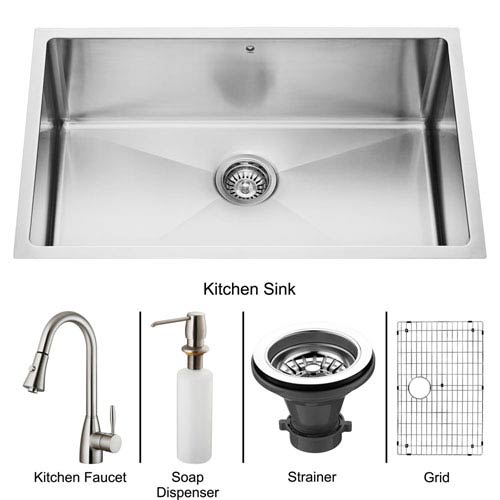 All-In-One 30 Inch Mercer Stainless Steel Undermount Kitchen Sink Set With Aylesbury Faucet In Stainless Steel, Grid,