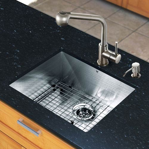All in One 23-inch Undermount Stainless Steel Kitchen Sink and Faucet Set