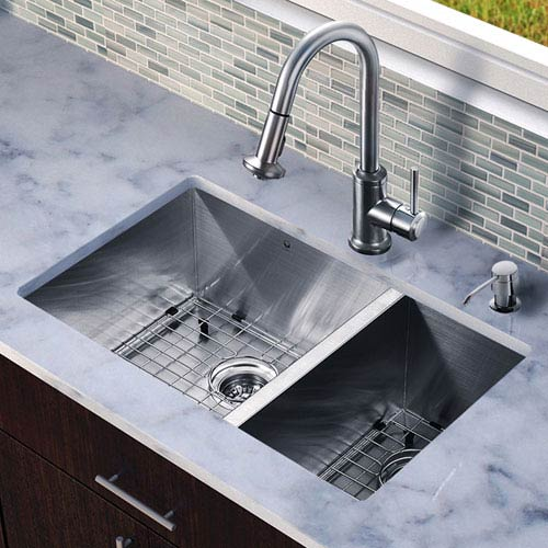 Vigo All In One 29 Inch Endicott Stainless Steel Double Bowl ... Undermount Kitchen Sink Faucet And Grey on bathroom sink faucet, undermount sinks with cabinet and kitchen, chrome stainless steel sink with faucet, undermount farm sink installation, undermount farmhouse sink,