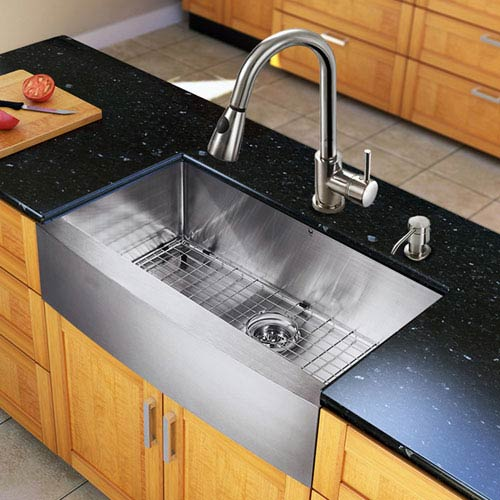 All-In-One 33-inch Bedford Stainless Steel Farmhouse Kitchen Sink Set With Weston Faucet, Grid, Strainer And Soap Dispenser