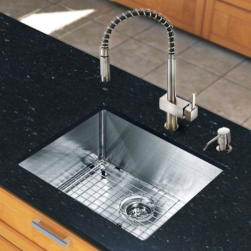 Vigo All-In-One 23-inch Mercer Stainless Steel Undermount Kitchen Sink Set With Lincroft Faucet, Grid, Strainer And Soap