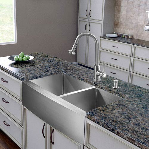 All In One 36 Inch Bingham Stainless Steel Double Bowl Farmhouse Kitchen Sink Set With Astor Faucet Two Grids Two Strainers And Soap Dispenser
