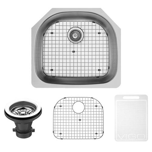 24 Inch Clarkdale Stainless Steel Undermount Kitchen Sink, With Grid And Strainer