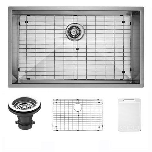 Vigo 30-inch Ludlow Stainless Steel Undermount Kitchen Sink, With Grid And Strainer