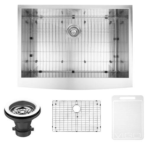 Vigo 30-inch Camden Stainless Steel Farmhouse Kitchen Sink, With Grid And Strainer