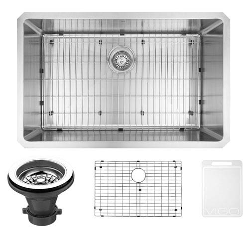Vigo 30-inch Mercer Stainless Steel Undermount Kitchen Sink, With Grid And Strainer
