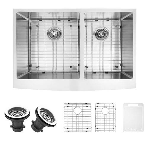 Vigo 33-inch Bingham Stainless Steel Double Bowl Farmhouse Kitchen Sink, With Grids And Strainers