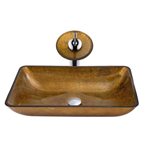 Vigo Copper Waterfall Glass Sink and Faucet Set