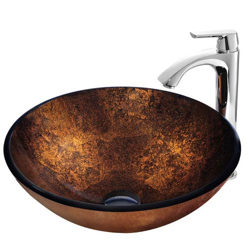 Russet Glass Vessel Sink and Faucet Set