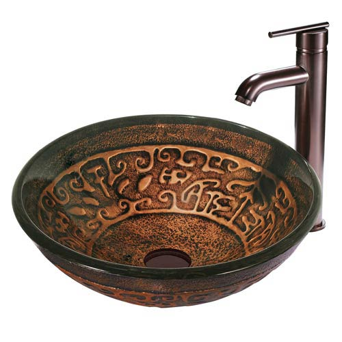 Copper Mosaic Gl Vessel Sink And Faucet Set