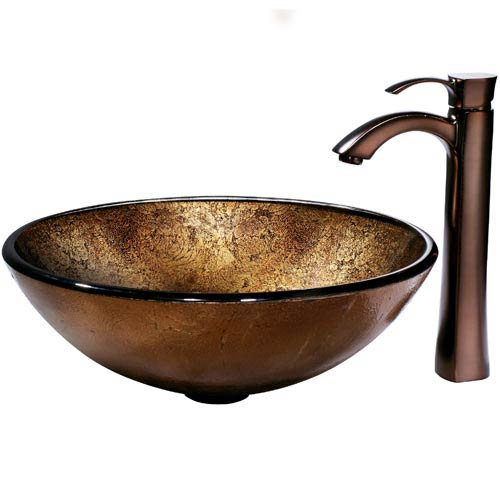 Liquid Copper Glass Vessel Sink and Bronze Faucet