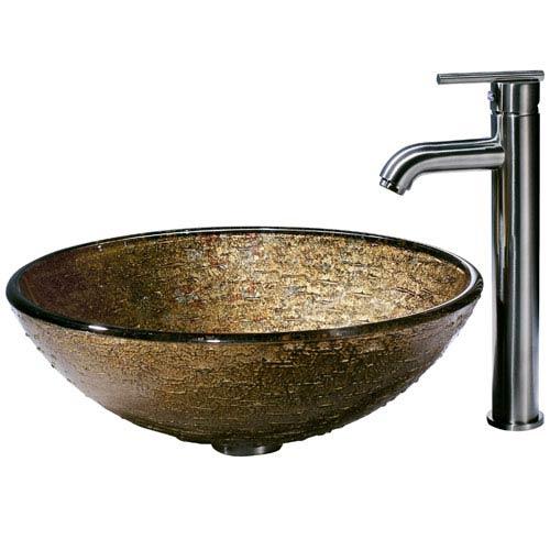Vigo Textured Copper Vessel Sink and Statuesque Faucet