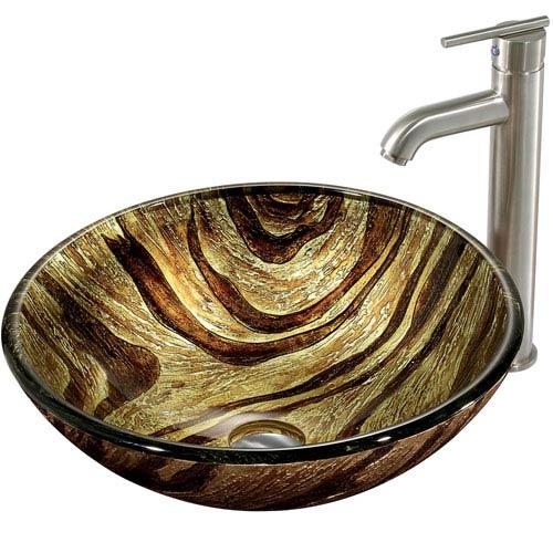 Zebra Multicolor Vessel Sink with Brushed Nickel Faucet