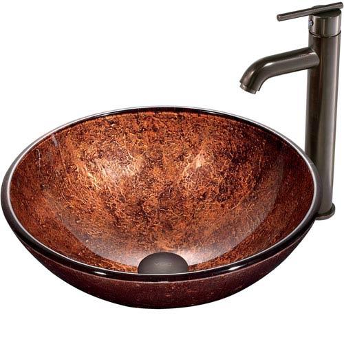 Vigo Mahogany Moon Copper Vessel Sink With Oil Rubbed Bronze Faucet