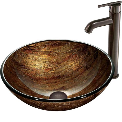 Vigo Amber Sunset Multicolor Vessel Sink With Oil Rubbed Bronze