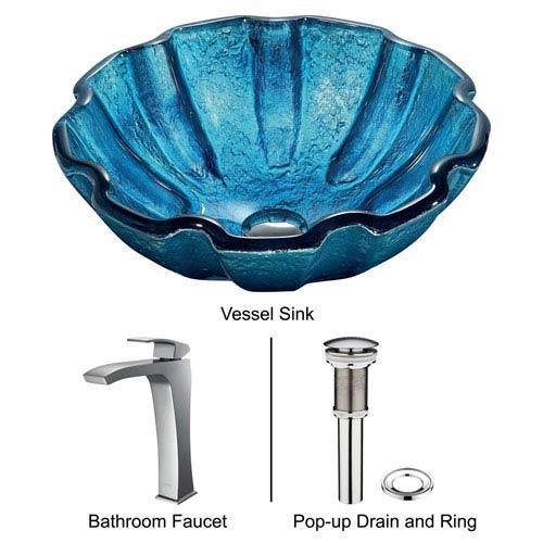 Mediterranean Seashell Blue Vessel Sink with Brushed Nickel Faucet