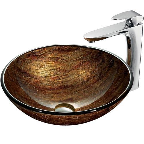 Vigo Amber Sunset Multicolor Vessel Sink with Chrome Faucet