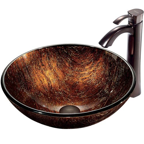 Kenyan Twilight Multicolor Vessel Sink with Oil Rubbed Bronze Faucet
