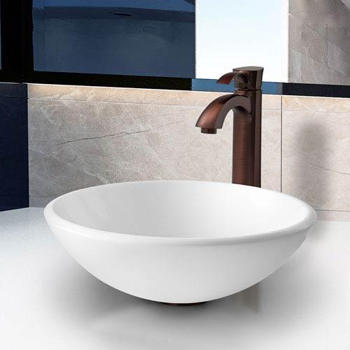 Delicieux Vigo Elizabeth Phoenix Stone Vessel Bathroom Sink Set With Otis Vessel  Faucet In Oil Rubbed Bronze