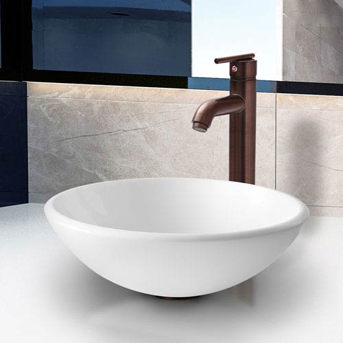 Elizabeth Phoenix Stone Vessel Bathroom Sink Set With Seville Vessel Faucet In Oil Rubbed Bronze