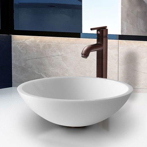 Victoria Phoenix Stone Vessel Bathroom Sink Set With Seville Vessel Faucet In Oil Rubbed Bronze