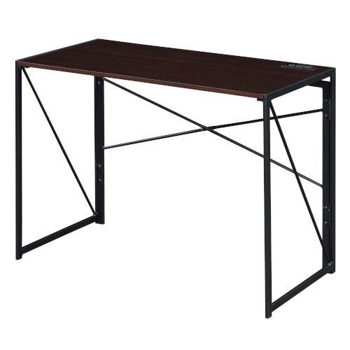 Xtra Espresso Black Folding Desk with Charging Station