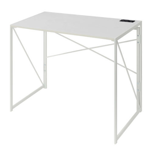 Xtra White Folding Desk with Charging Station