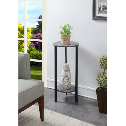 Weathered Gray and Black 15-Inch Plant Stand