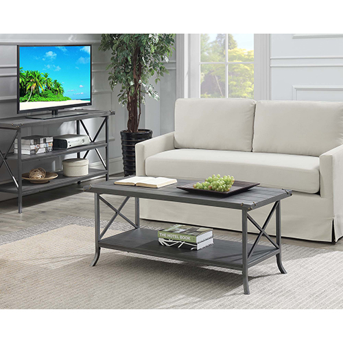 Convenience Concepts Brookline Charcoal Gray Coffee Table with Gray Frame