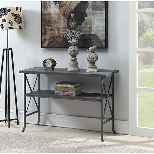 Convenience Concepts Brookline Charcoal Gray Console Table with Gray Frame