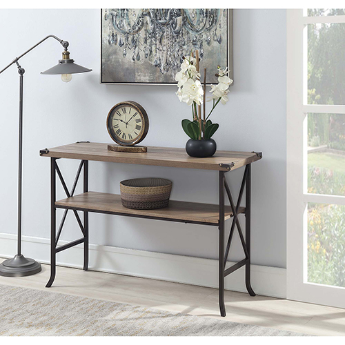 Convenience Concepts Brookline Driftwood Console Table with Brown Frame