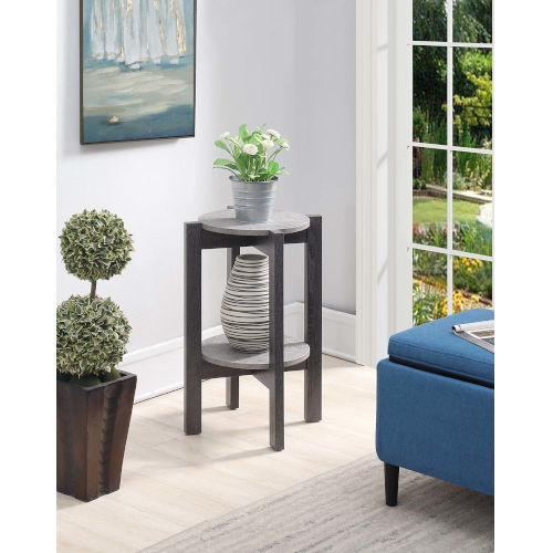 Newport Faux Cement and Weathered Gray 15-Inch Plant Stand
