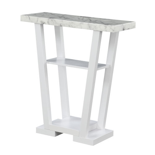 Newport Faux White Marble and White V-Shaped Console Table