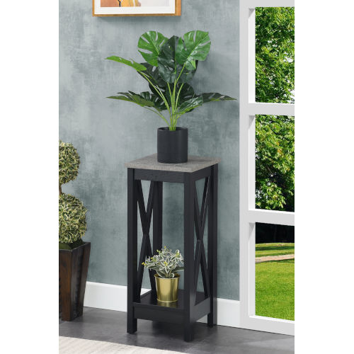 Oxford Cement and Black 26-Inch Plant Stand