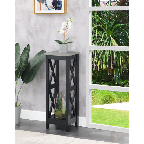 Oxford Cement and Black 32-Inch Plant Stand
