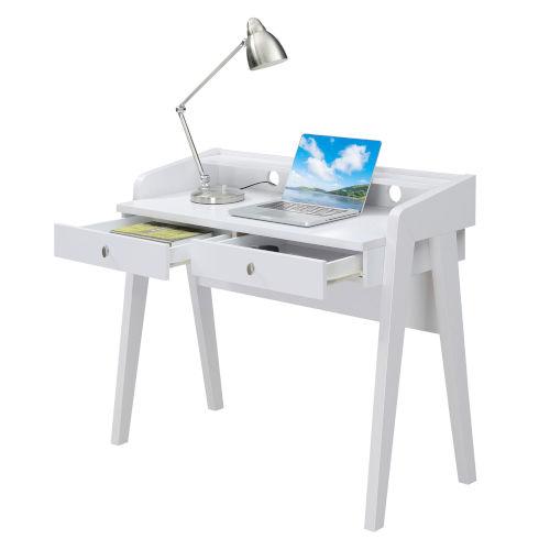 Newport White Deluxe Two-Drawer Desk