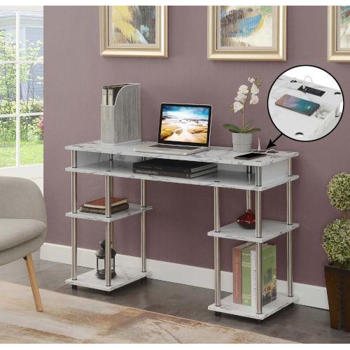 Designs2Go White Marble Office Desk