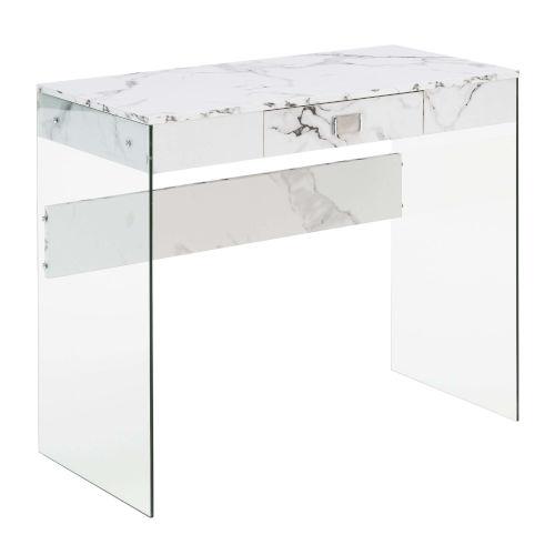SoHo White Desk with Tempered Glass