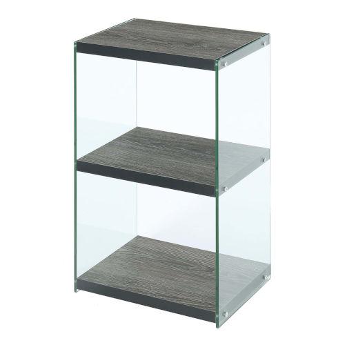 SoHo Weathered Gray Three-Tier Tower Bookcase
