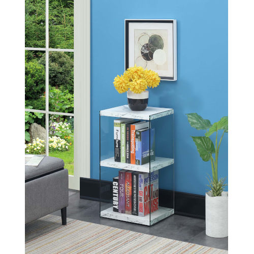 Soho 3 White Faux Marble 12-Inch Three Tier Tower Bookcase