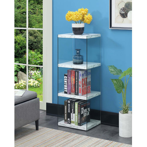 Soho 4 White Faux Marble 12-Inch Four Tier Tower Bookcase