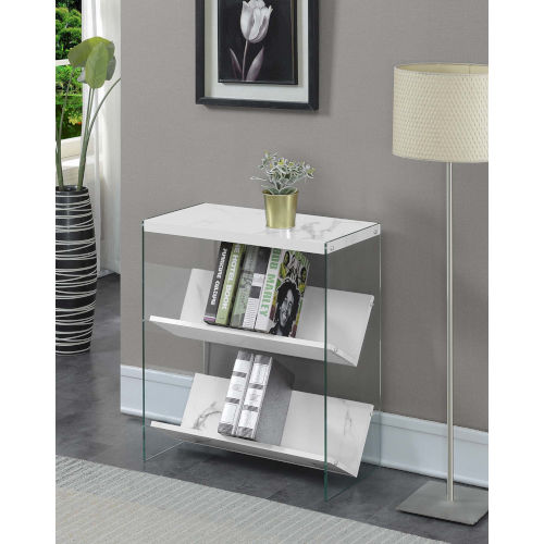 Soho White Faux Marble with Glass 28-Inch Book Case