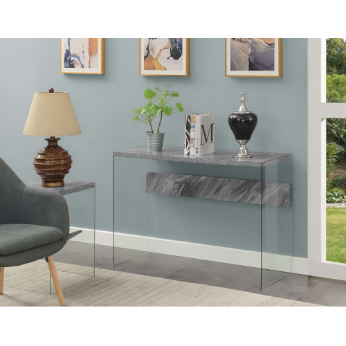 Soho Gray Marble Accent Console Table