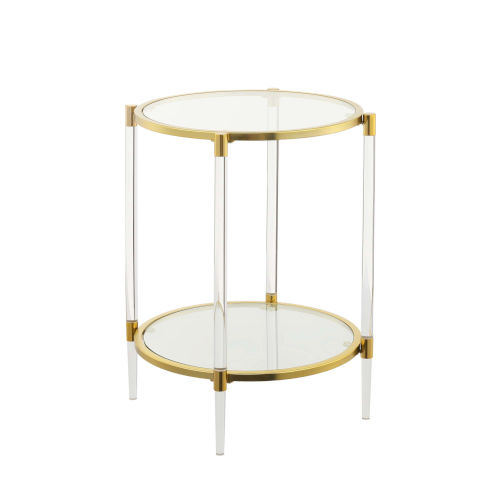 Royal Crest Clear and Gold Acrylic Glass End Table