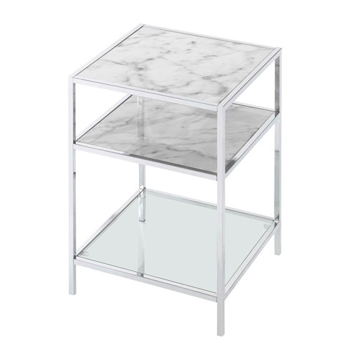 Convenience Concepts Gold Coast Carrara End Table in Faux White Marble and Chrome