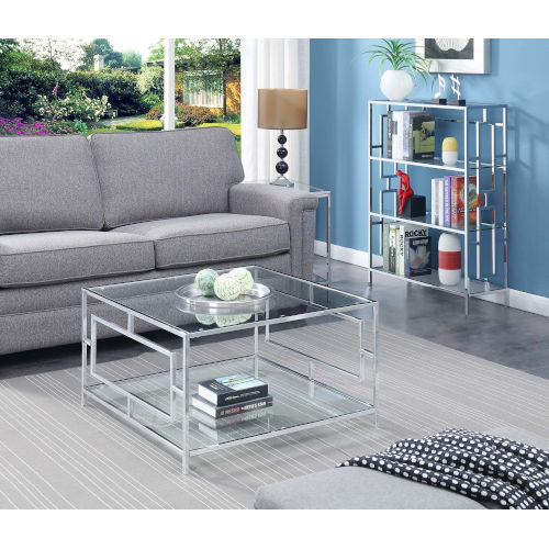 Town Square Clear Glass and Chrome 32-Inch Square Coffee Table