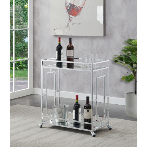 Town Square Clear Glass, Mirror and Chrome Bar Cart