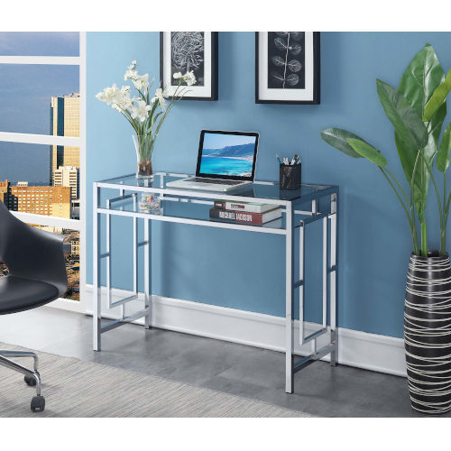 Town Square Clear Glass and Chrome Desk With Shelf