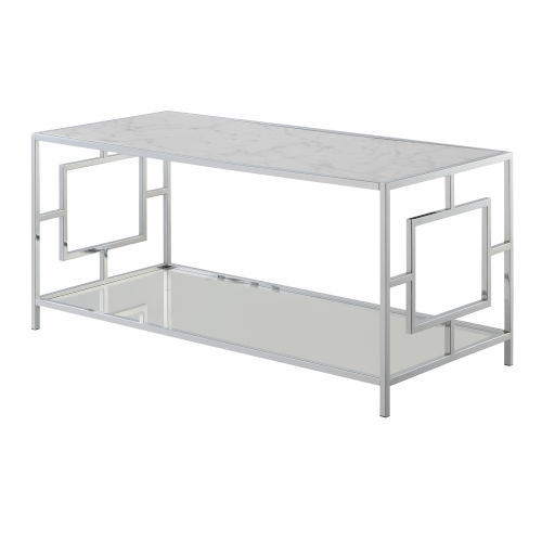 Town Square Faux White Marble and Chrome Coffee Table